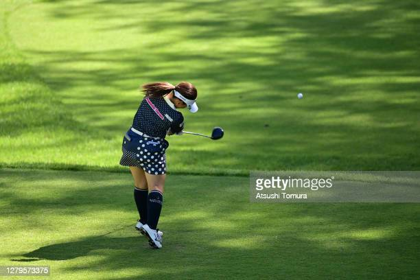 Hikaru Yoshimoto of Japan hits her tee shot on the 9th hole during the final round of the Stanley Ladies Golf Tournament at the Tomei Country Club on...