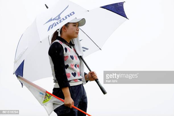 Hikaru Yoshimoto of Japan watches on the 9th hole during the final round of the Udonken Ladies at the Mannou Hills Country Club on October 15 2017 in...