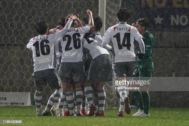 Hikaru Yumura of AS Elfen Saitama celebrates with her teammates after scoring their first goal during the Empress Cup 41st JFA Women's Championship...