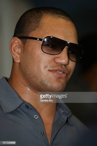 Hikawera Elliot of the All Blacks is interviewed upon his arrival home at Auckland International Airport following the New Zealand All Blacks...