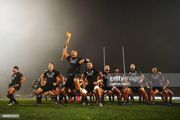 Hikawera Elliot of the Maori All Blacks leads the haka during the match between the New Zealand Maori and the British Irish Lions at Rotorua...