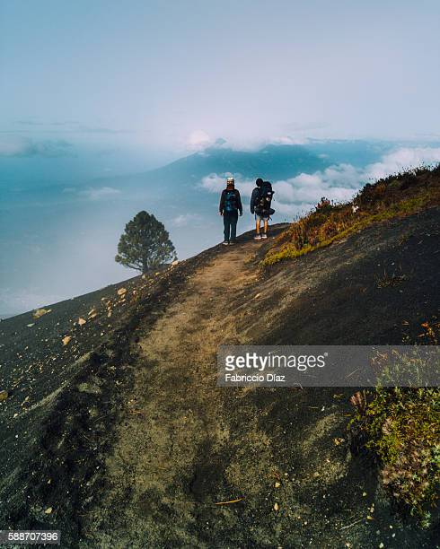 hike down acatenango volcano in guatemala - guatemala stock pictures, royalty-free photos & images
