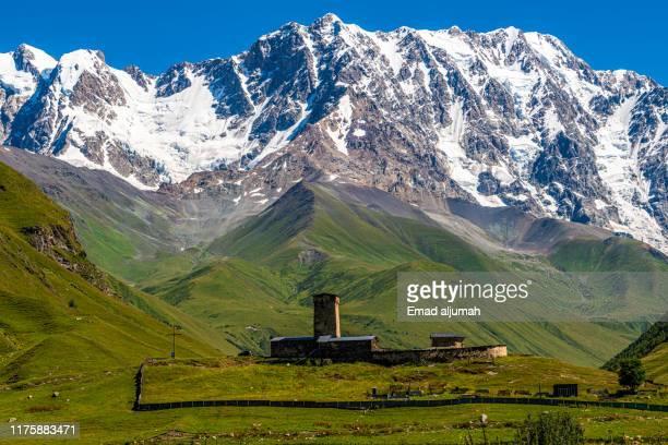 hike from ushguli to the shkhara glacier, svaneti, georgia - コーカサス山脈 ストックフォトと画像
