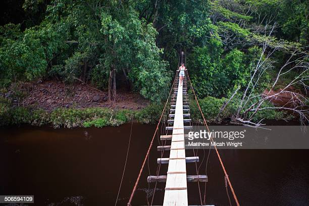 a hike leads to a swing bridge - waimea canyon stock pictures, royalty-free photos & images