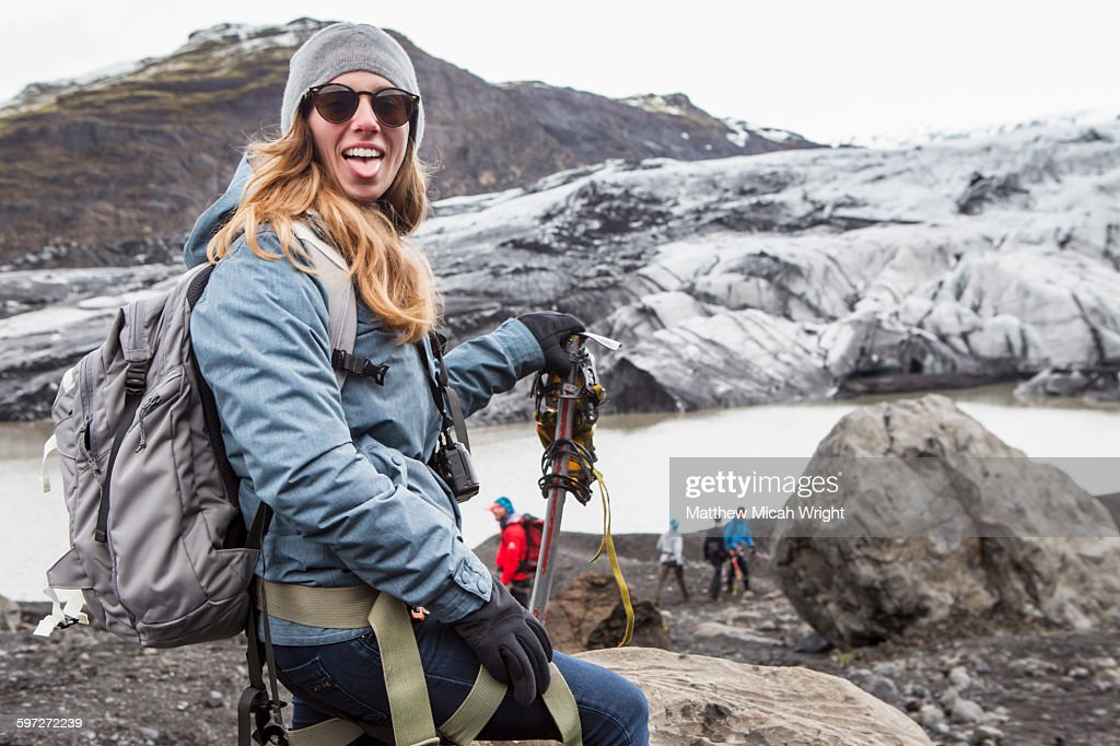 A hike on the Solheimajokull glacier : Stock Photo