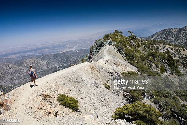 hike up to mount baldy in the san gabriel mountains. - san gabriel mountains stock pictures, royalty-free photos & images