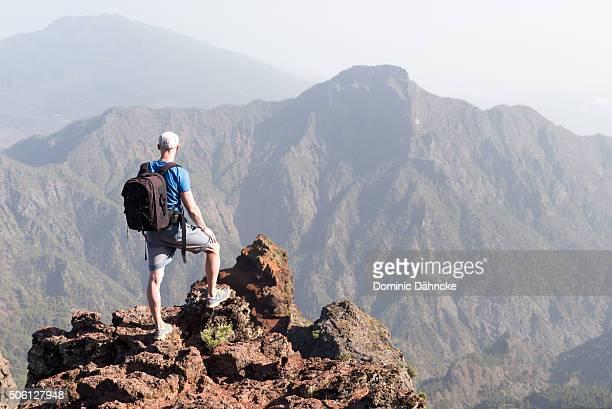 "Hiker above ""Caldera Taburiente"" National Park (La Palma island. Canaries. Spain)"