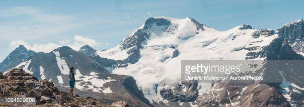 hiker admiring scenic mountains, alberta, canada - columbia icefield stock pictures, royalty-free photos & images