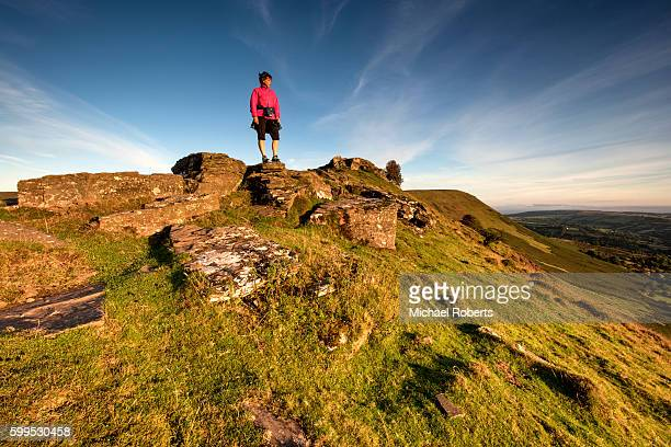 Hiker admiring the views across the Black Mountains in Heredfordshire.