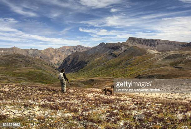Hiker and Dog off Continental Divide Mountain Trail