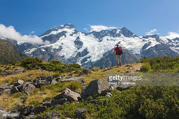 Hiker and Mount Sefton, Aoraki/Mount Cook NP