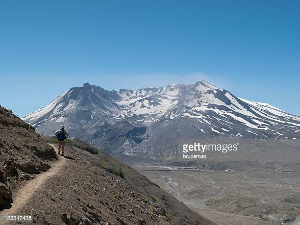 hiker and mt. st. helens - mount st. helens stock pictures, royalty-free photos & images