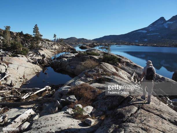 hiker at aloha lake, california - pacific crest trail stock pictures, royalty-free photos & images