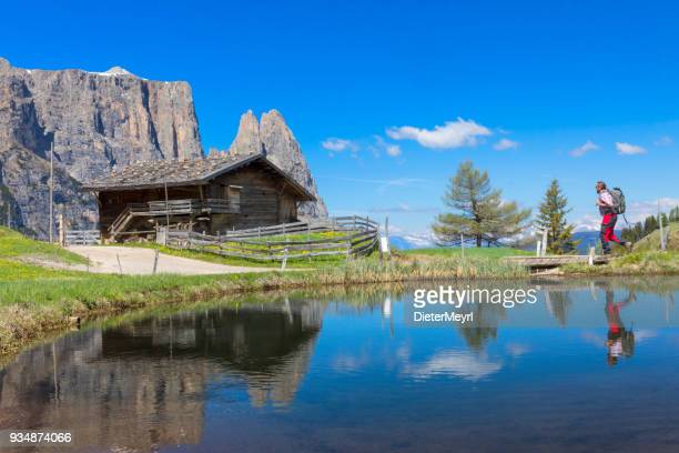 Hiker at Alpe di Siusi, in Springtime with Mount Schlern