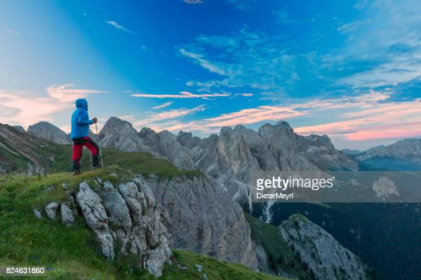 Hiker at Catinaccio, Rosengarten Mountain Group, Dolomites