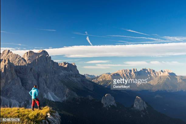 Hiker at Catinaccio, Rosengarten Mountain Group, Dolomites