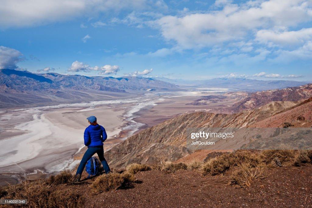 Hiker at Dante's View : Stock Photo