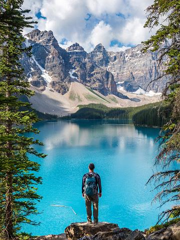Hiker at Moraine Lake in Banff National Park, Alberta, Canada 1091922510