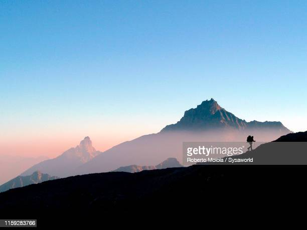 hiker at sunrise, gran paradiso national park, aosta valley - summit stock pictures, royalty-free photos & images