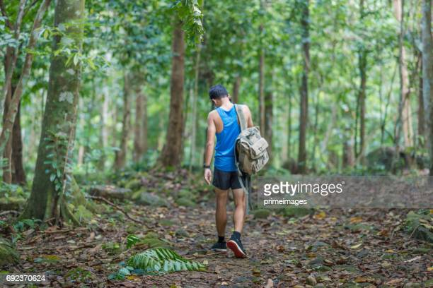 hiker backpack adventure at  waterfall  the forest. - only young men stock pictures, royalty-free photos & images