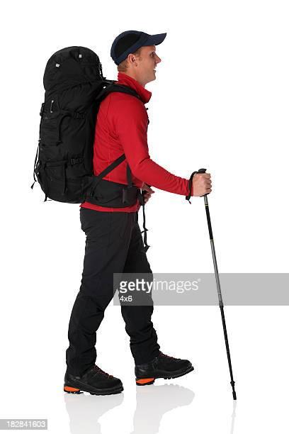 Wanderer tragen Rucksack