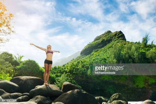 hiker celebrating the beauty - water fall hawaii stock pictures, royalty-free photos & images