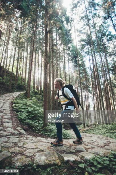 Hiker Climbing a Pathway on Nakasendo Trail
