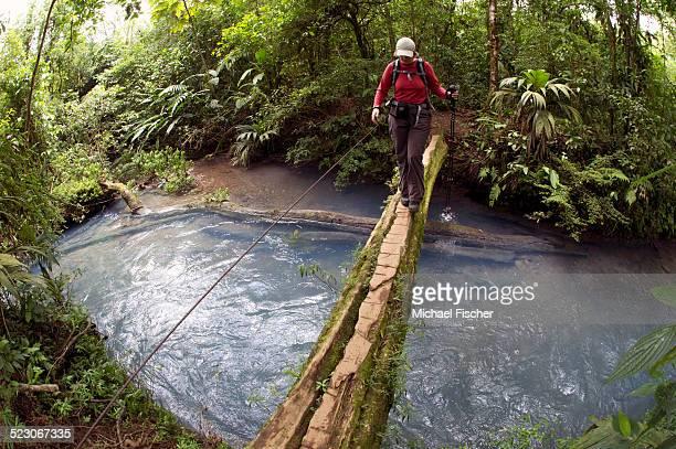 hiker crossing the rio celeste on a wooden bridge, tenorio national park, guanacaste, costa rica, central america - guanacaste fotografías e imágenes de stock