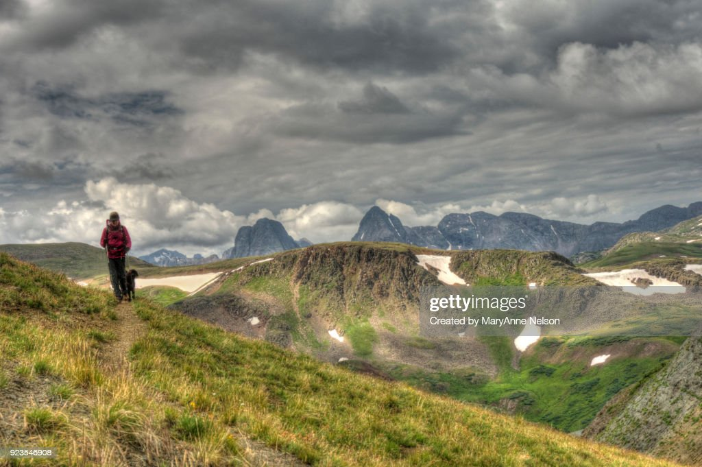 Hiker, Dog, Continental Divide Trail and Mountains : Stock Photo