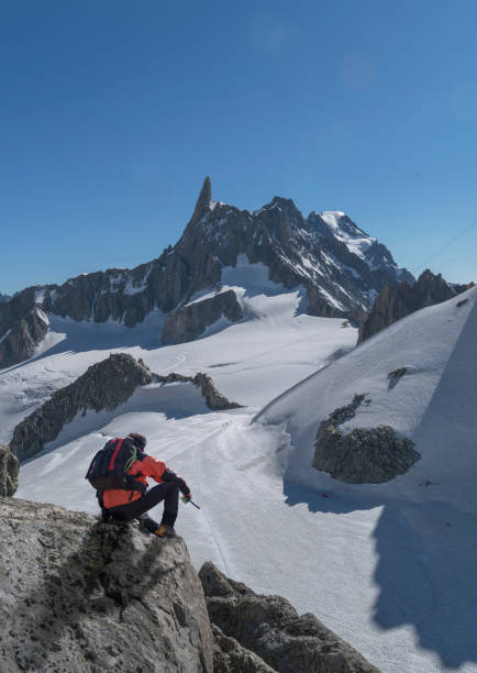 Hiker enjoying scenery, Chamonix-Mont-Blanc, Rhone-Alpes, France