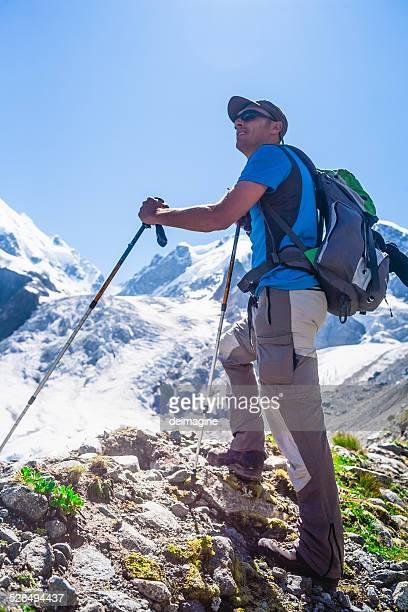 Hiker enjoying the mountain view.