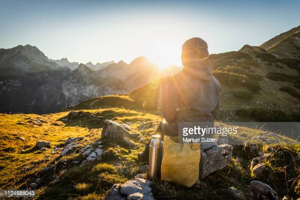 hiker enjoying view, karwendel region, hinterriss, tirol, austria - karwendel mountains stock pictures, royalty-free photos & images