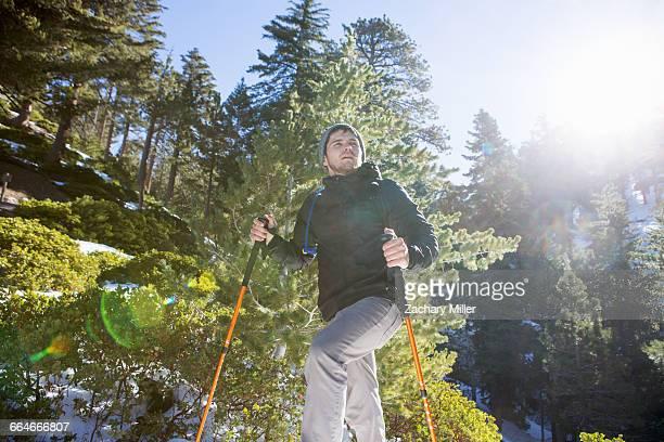 Hiker enjoying view, Mount Baldy, California