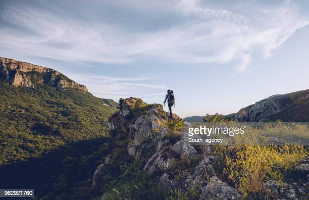hiker exploring nature - explorer stock pictures, royalty-free photos & images