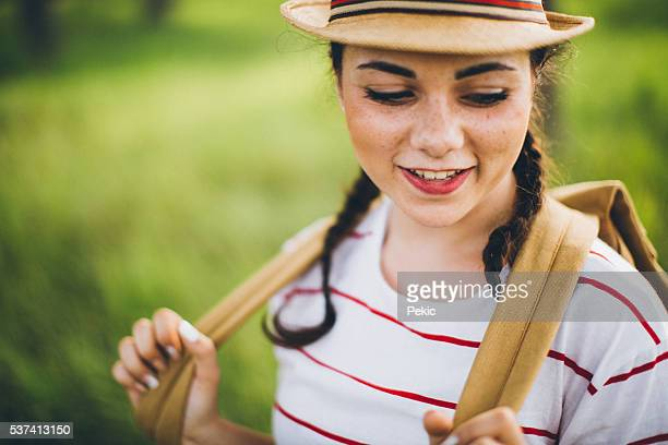 Hiker girl with freckles