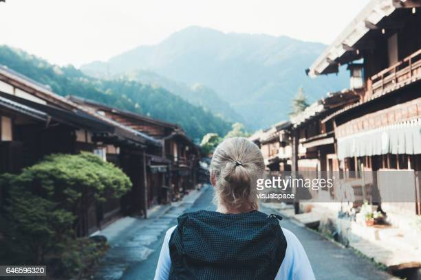 Hiker in a Village on Nakasendo Trail