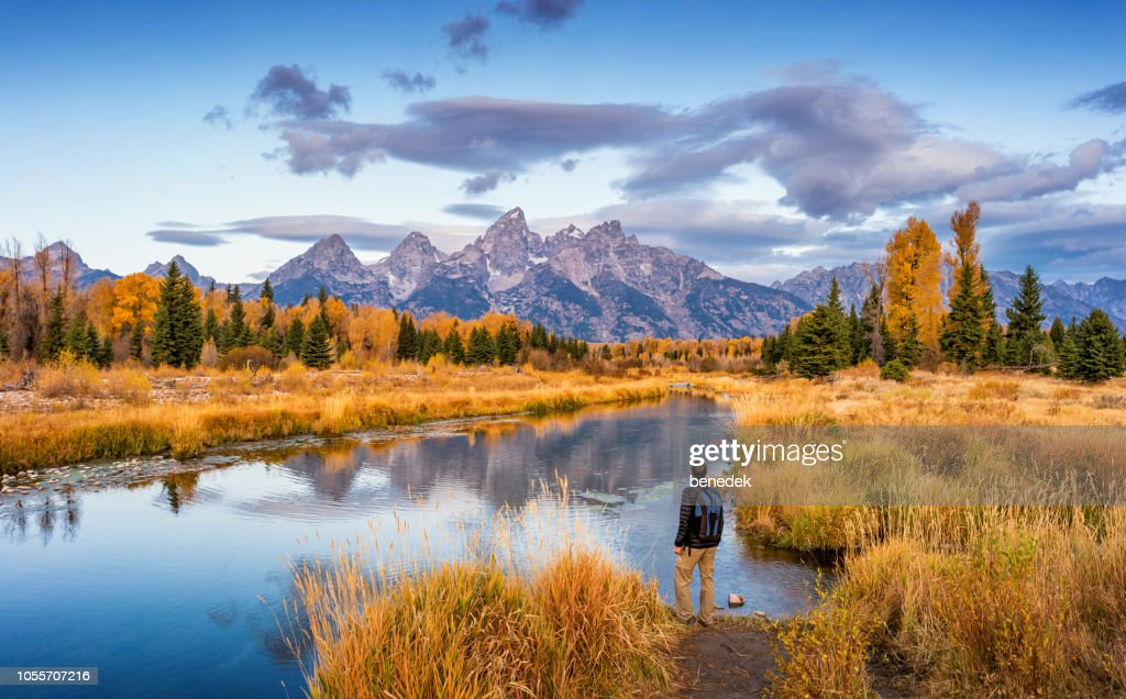 Hiker in Grand Teton National Park USA : Stock Photo