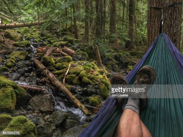 hiker resting hammock crest trail upper
