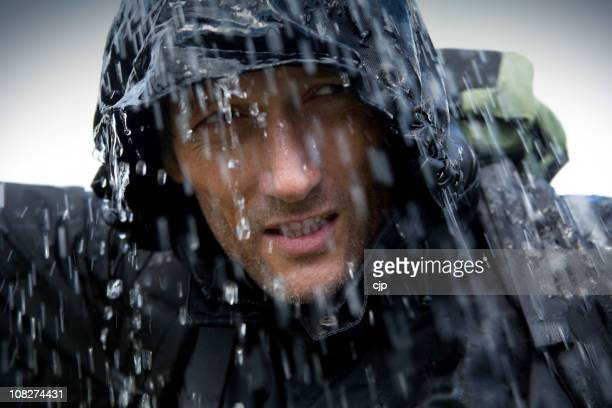 hiker in heavy rain storm - torrential rain stock pictures, royalty-free photos & images