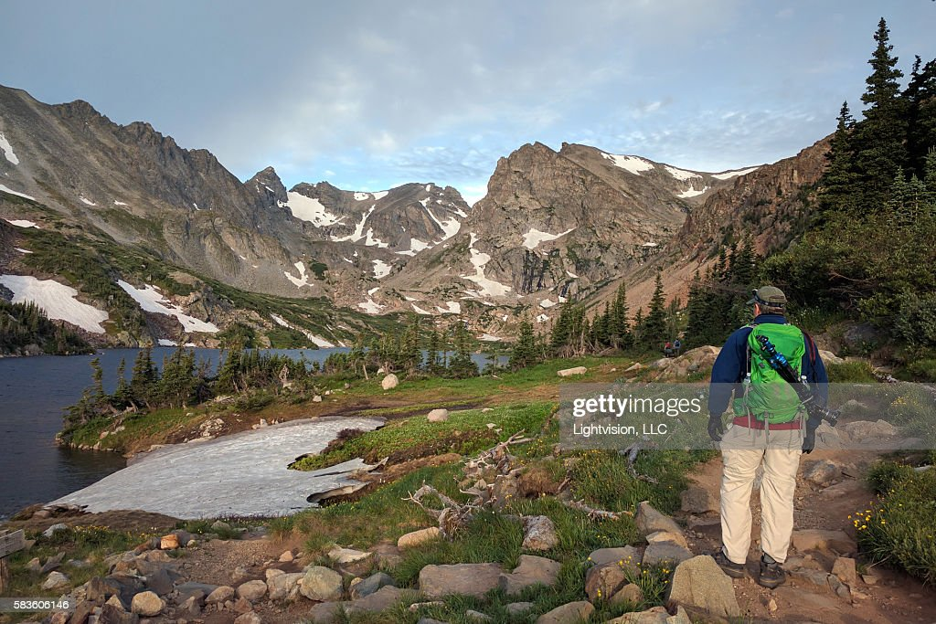 Hiker in Indian Peaks Wilerness near Boulder, Colorado : Stock Photo
