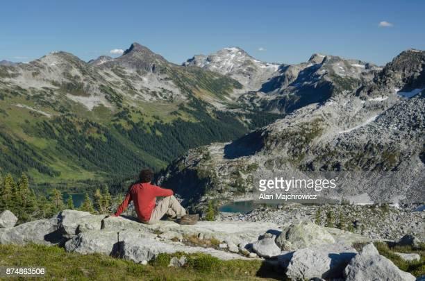 Hiker in Marriott basin Coast Mountains British Columbia