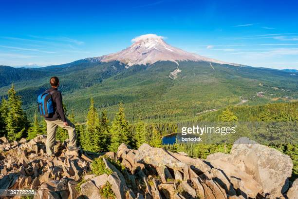 hiker in mount hood national forest oregon usa - mirror lake stock pictures, royalty-free photos & images