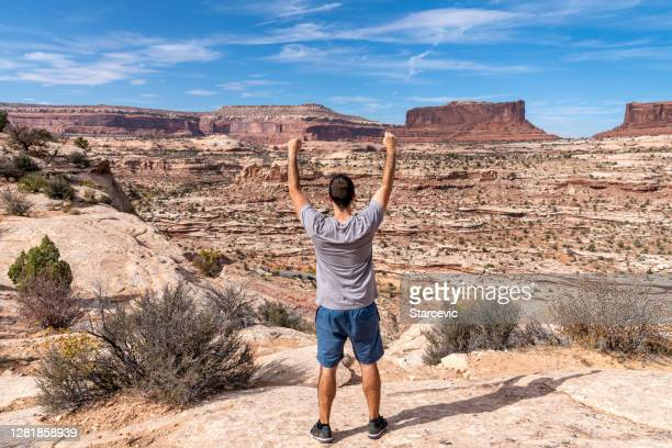 hiker in southwest usa desert landscape - rock formation stock pictures, royalty-free photos & images
