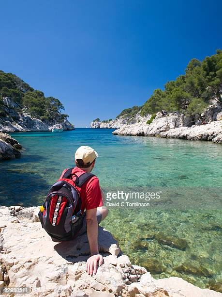 Hiker in the Calanque de Port-Pin, Cassis, France