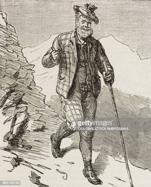 Hiker in the mountains an ascent of the Schilthorn from Murren Switzerland illustration from the magazine The Graphic volume XXX no 765 July 26 1884