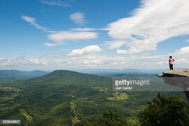 hiker in virginia enjoying the view from mcafee knob - appalachian trail stock pictures, royalty-free photos & images