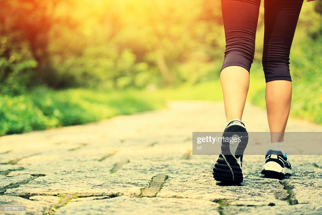 hiker legs hiking on stone trail