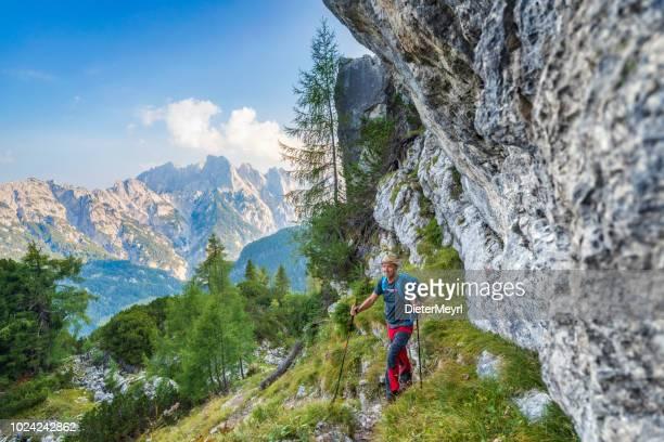 hiker looking at mountain range, alps - nationalpark berchtesgaden - berchtesgadener land stock photos and pictures
