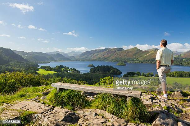 hiker looking at panorama of derwentwater in english lake district, england, uk from castlehead viewpoint in early morning - keswick stock pictures, royalty-free photos & images