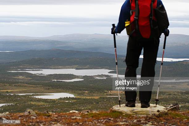 hiker looking at view - hiking pole stock pictures, royalty-free photos & images